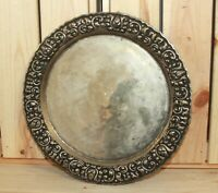 Vintage hand made ornate metal platter serving tray