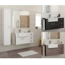 Mobile bagno arredo moderno 100+30 bianco grigio scuro larice Lavabo specchio |4