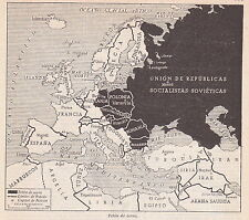 1954 Antique Map of Cold War Europe