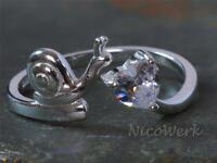 Silberring Schnecke Herz Mit stein Zirkonia Liebe Verspielt Ring Silber 925
