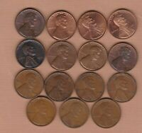 15 USA LINCOLN ONE CENT COINS 1909 TO 2003S IN FINE OR BETTER CONDITION.