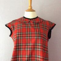 Tartan red plaid check peter pan collar button back cap sleeve blouse