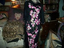 Alfred Shaheen Vintage Groovy Black Onyx+Rouge Pink Floral Kimono Dress Size S