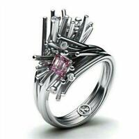 Coole Frauen Männer Silber Pink Sapphire Ring Hochzeit Schmuck Geschenk Gr Heiß