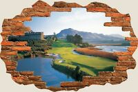 3D Hole in Wall Golf Fairway View Wall Stickers Mural Film Art Wallpaper 276