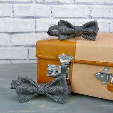 Handmade Father and Son Bow ties  - Black Grey Birdseye Yorkshire Tweed
