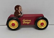 Curious George Red Wooden Rolling Toy Car Schylling Rowley Collectible Monkey