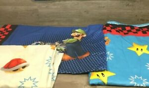 Mario Bros Kart Wii FULL Size Flat & Fitted Sheets & Pillowcase 3 Pc. Set