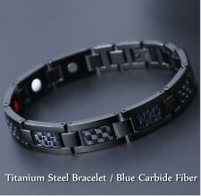 12MM Adjustable Titanium Steel Bracelet Healthy Magnetic Link Inlay Blue Carbide