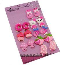 Pink Color Rabbit Bear Dounut Strawberry Mushroom Popsicle Clip on Earrings Set