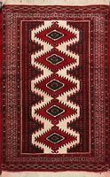 Vintage Geometric Turkoman Hand-knotted Area Rug Classic Oriental Carpet 3'x4'