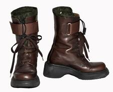 Scheme Made in Italy Dark Brown Genuine Leather Lace-Up Calf Women Boots Size 35