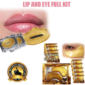 30 Eye + Lip Gold Mask Patches Collagen Crystal Gel Pad Face Anti Aging Wrinkle