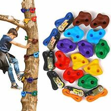 12 Tree Rock Climbing Holds for Kids, with 6pcs 10ft Ratchet Straps for Warrior