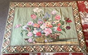 Large Beautiful Tapestry Wall Hang Renaissance Style Floral Bouquet Lined