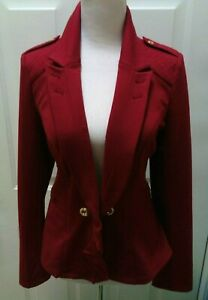 WHITE HOUSE BLACK MARKET BURGUNDY STRETCH EPAULET GOLD BUTTON JACKET SIZE 6