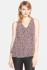 NWT- Trina Turk 'Burke' Print Silk Sleeveless Top, Fuschia Multi - Size Small