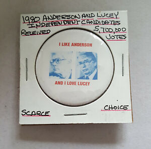 1980 I Like Anderson I Love Lucey President political campaign button pin