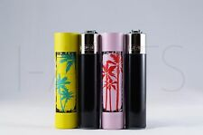 2x Clipper Refillable Mini Size Lighters With Metallic Removable Covers
