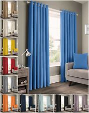 Plain 100% Cotton Thick Unlined Ready Made Panama Ringtop Eyelet Curtains Pair