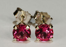 BEENJEWELED GENUINE MINED MYSTIC PINK EARRINGS~STERLING SILVER~5MM
