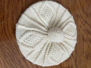 Carraig Donn Ivory Merino Wool Hand Knit Pom Pom Beret Hat EUC