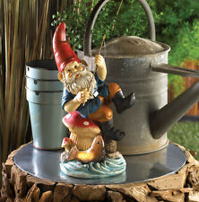 Fishing Gnome Solar Statue Home Garden Lighted Fsh