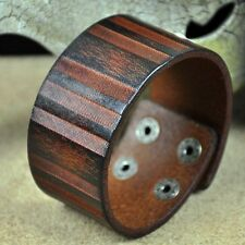JS316 COOL Men's Vintage Single Band Leather Wristband Bracelet Wide Cuff BROWN