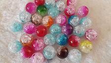 20 très grosses perles en verre craquelé
