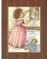 Catholic Print Picture Little Girl Adoring Blessed Mother 7x9""