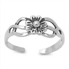 Flower Toe Ring Genuine Sterling Silver 925 Adjustable Figt Face Height 5 mm