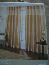 """Gold faux silk lined curtains with band of sequin design Ring top 46x54"""""""