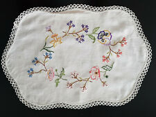 VINTAGE DOILY ~ FLORAL DESIGN, HAND EMBROIDERED with CROCHET EDGE