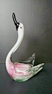 "SWAN BIRD ART PIECE MURANO STYLE GLASS LRG 11"" FIGURINE PINK,BLACK,WHITE,SHIMMER"