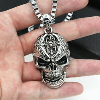 Totenkopf Anhänger Edelstahl kette biker gothic harley rock skull schädel silber