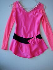 Custom Made Us Icewear Xs Figure Skating Dress Hot Pink Black 350+ Stones