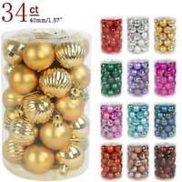 34pcs 4cm Christmas Tree Decorations Balls Bauble Xmas Party Hanging Ball Decor