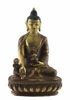 Budda Da La Medicina Soprammobile Tibetano 14cm IN Rame E Oro Nepal Budda 26664