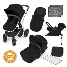 Ickle Bubba Stomp v3 All-in-1 Baby Travel System: Isofix Base - Black on Silver