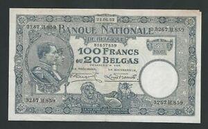 BELGIUM 100 FRANCS 1932  F++++ VF