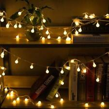 EU Plug Outdoor 100 Globe Bulb String Fairy Lights Warm White LED LightingDecor