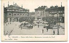 1905 Milano piazza della Scala Monumento Leonardo da Vinci Massa FP B/N VG ANIM