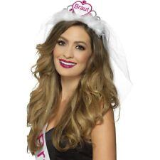 Braut Tiara rosa & Blanco Mujer Despedida De Soltera Accesorio corona & VELO