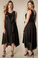 Size 18 20 22 Black Sequin Embellished Dress With Self Tie Waist & Curved Hem