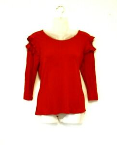 M&S COLLECTION lipstick pillar box red Gothic top - Ruffle shoulders & lace 12