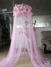 PINK ROSE EMBELLISHED PRINCESS BED CANOPY MOSQUITO NET NEW FREE SHIPPING