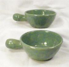2 Vintage Green Pottery Porringers Baking Dishes Small Casseroles USA