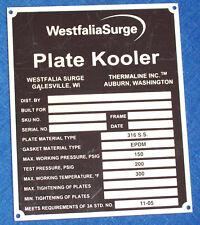 NOS STAINLESS STEEL ID DATA PLATE, WESTFALIA SURGE PLATE KOOLER TAG Dairy Milker