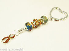 #6260 -- BROWN RIBBON AWARENESS CHARM STERLING 925 SILVER GLASS BEADS KEY CHAIN