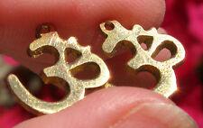 2pc PAIR Gold OHM Pendant Brass Charm Antique Yoga Buddha DIY Earrings Buddhism